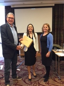 Prof Niesters and Dr Susan Knowles, ISCM President congratulate Dr Ciara O'Connor, winner of the oral presentation prize