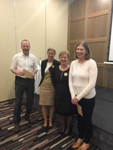 Dr Rob Cunney & Dr Joanne O'Gorman accept prizes from Natasha Friess (MSD) and Dr Eleanor McNamara, ISCM President, on behalf of poster prize winners Dr Ciara O'Connor and Charlene Bennett